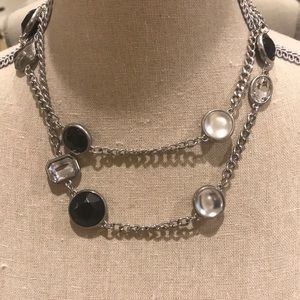 WHBM Black/Silver Long or Double Strand Necklace